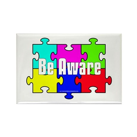 Be Aware Puzzle Pieces Rectangle Magnet