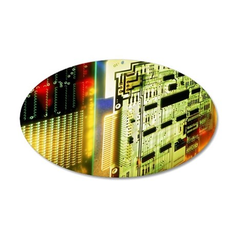 Circuit boards 35x21 Oval Wall Decal