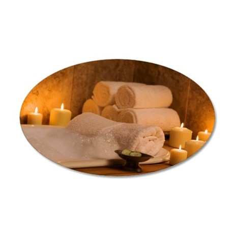 Candlelit bubble bath 35x21 Oval Wall Decal