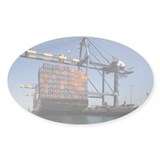 Container ship below cranes a Decal