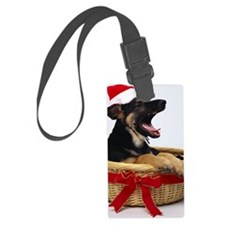 Christmas puppy in basket Luggage Tag