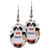 Panda Volleyball Player Earring Oval Charm