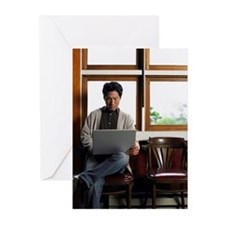 Man with Laptop Computer Greeting Cards (Pk of 20)