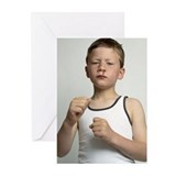 boy raising his fists, b Greeting Cards (Pk of 20)