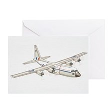 White C-130 Hercules military plane. Greeting Card