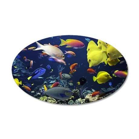 Tropical fish in giant aquar 35x21 Oval Wall Decal
