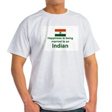 Happily Married To An Indian Ash Grey T-Shirt