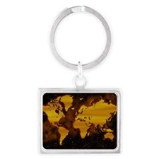 Unmarked map of world Landscape Keychain