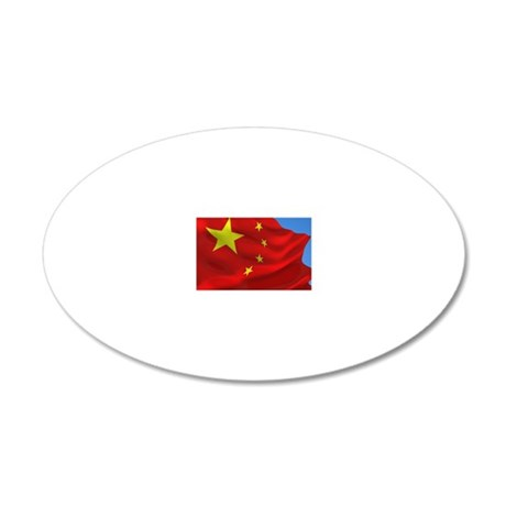 Chinese flag against blue sk 20x12 Oval Wall Decal