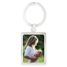 Woman breastfeeding baby in fiel Portrait Keychain
