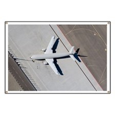 Aerial view of airplane on tarmac Banner