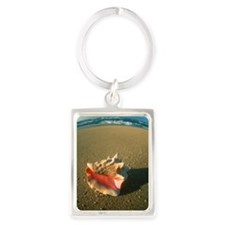 An empty conch shell Portrait Keychain