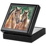 Bay Mare and Foal Watercolor Keepsake Box