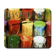 Close-up of large group of paint cans Mousepad