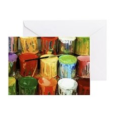 Close-up of large group of paint can Greeting Card