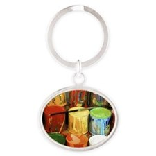Close-up of large group of paint can Oval Keychain