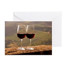 Two wine glasses filled  Greeting Cards (Pk of 10)