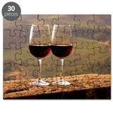 Two wine glasses filled with Chianti Classi Puzzle