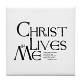 Christ Lives in Me Tile Coaster