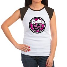 Rollergirl Skull Circle Pink Tee
