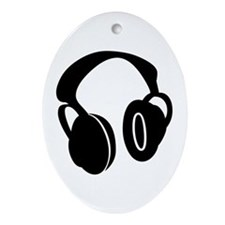 DJ Headphones Oval Ornament
