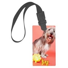 Dog with piggy bank and coins Luggage Tag