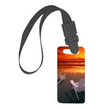Two white chairs on beach at sun Luggage Tag