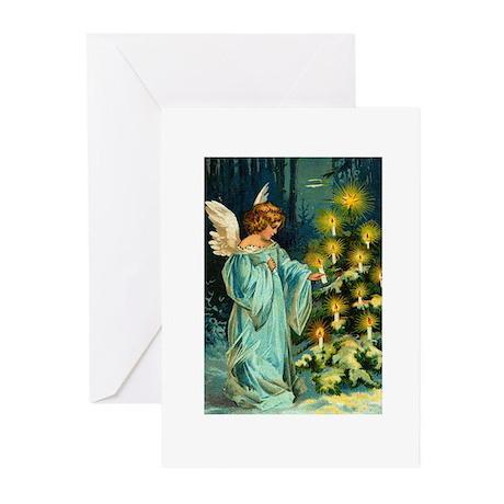 Angel Lighting Candles on Christmas Tree Greeting
