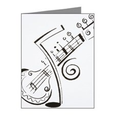 Illustration, sitar and musi Note Cards (Pk of 20)