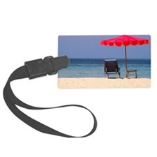 Chair and umbrella on tropical b Luggage Tag