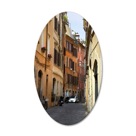 Narrow Lane in Rome, Italy 35x21 Oval Wall Decal