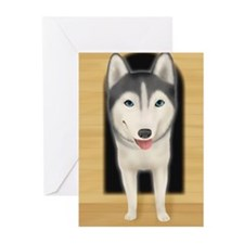 Siberian Husky getting o Greeting Cards (Pk of 20)
