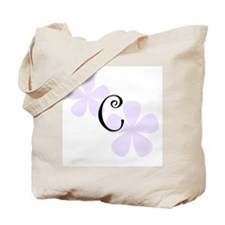 Lilac Flowers Monogram C Tote Bag