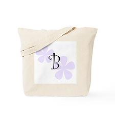 Lilac Flowers Monogram B Tote Bag