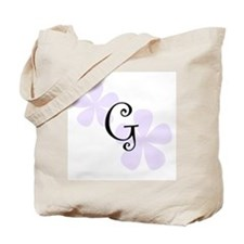 Lilac Flowers Monogram G Tote Bag