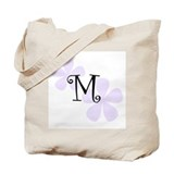 Lilac Flowers Monogram M Tote Bag