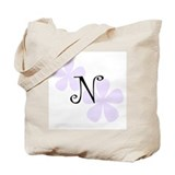 Lilac Flowers Monogram N Tote Bag