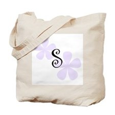 Lilac Flowers Monogram S Tote Bag