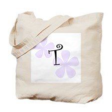 Lilac Flowers Monogram T Tote Bag