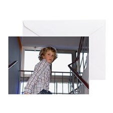 young boy in staircase o Greeting Cards (Pk of 20)