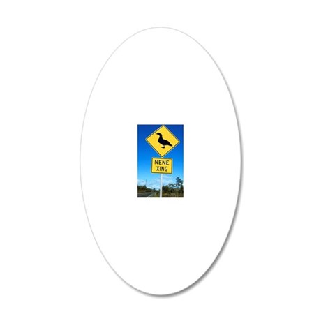 Road sign in Hawaii for Nene 20x12 Oval Wall Decal