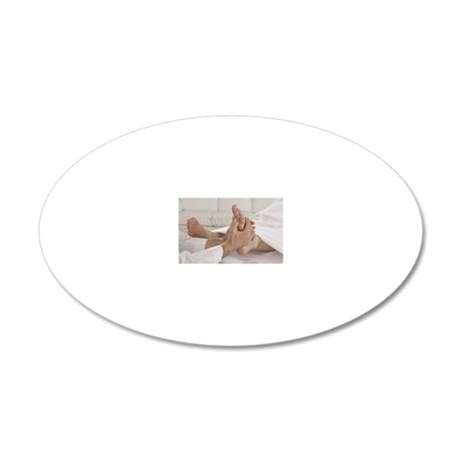 Person getting a foot massag 20x12 Oval Wall Decal