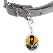 Traffic signal sign Small Oval Pet Tag