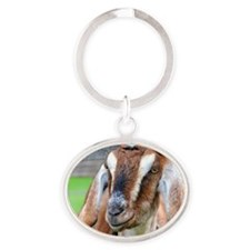 Nubian goat, Capra hircus, with long Oval Keychain