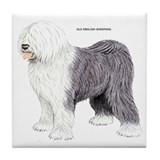 Old English Sheepdog Dog Tile Coaster