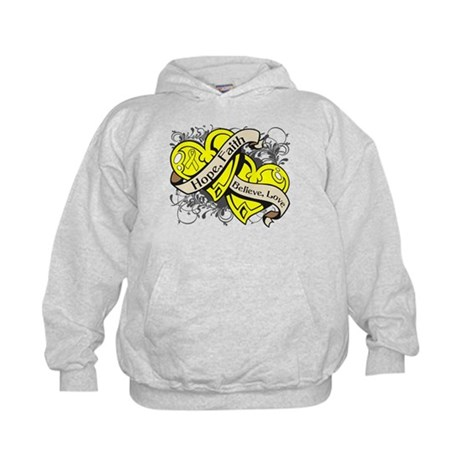Ewings Sarcoma Hope Dual Heart Kids Hoodie