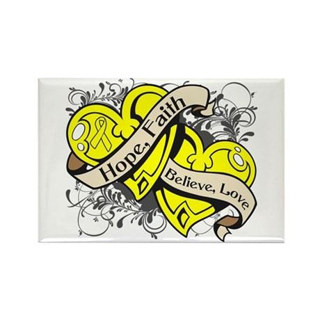 Ewings Sarcoma Hope Dual Heart Rectangle Magnet