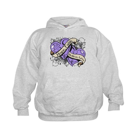 General Cancer Hope Dual Heart Kids Hoodie