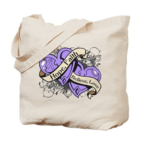 General Cancer Hope Dual Heart Tote Bag