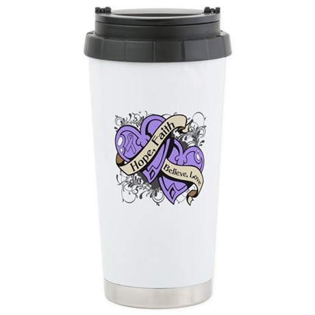 General Cancer Hope Dual Heart Ceramic Travel Mug